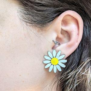 Vintage Enamel Sunflower Daisy Earrings